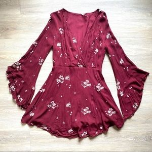 Free People 6 Red Boho Floral Embroidered Bell Sleeve Mini Dress